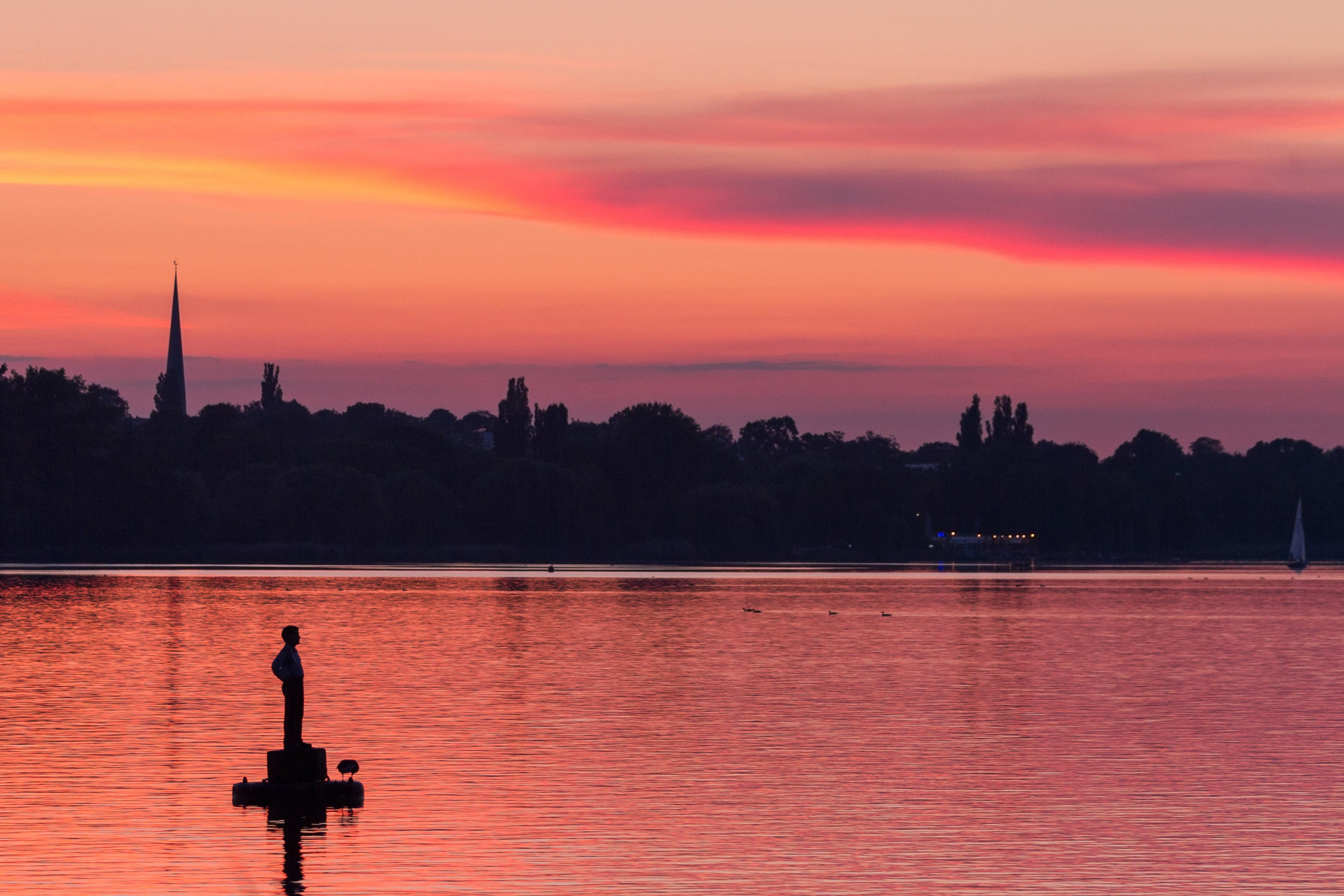 Hamburg, Aussenalster beim Sonnenuntergang